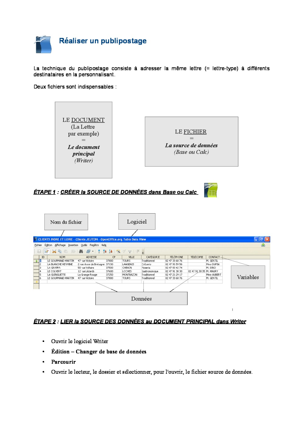 R aliser un publipostage avec openoffice tutoriel bdrp - Open office writer telecharger gratuit ...