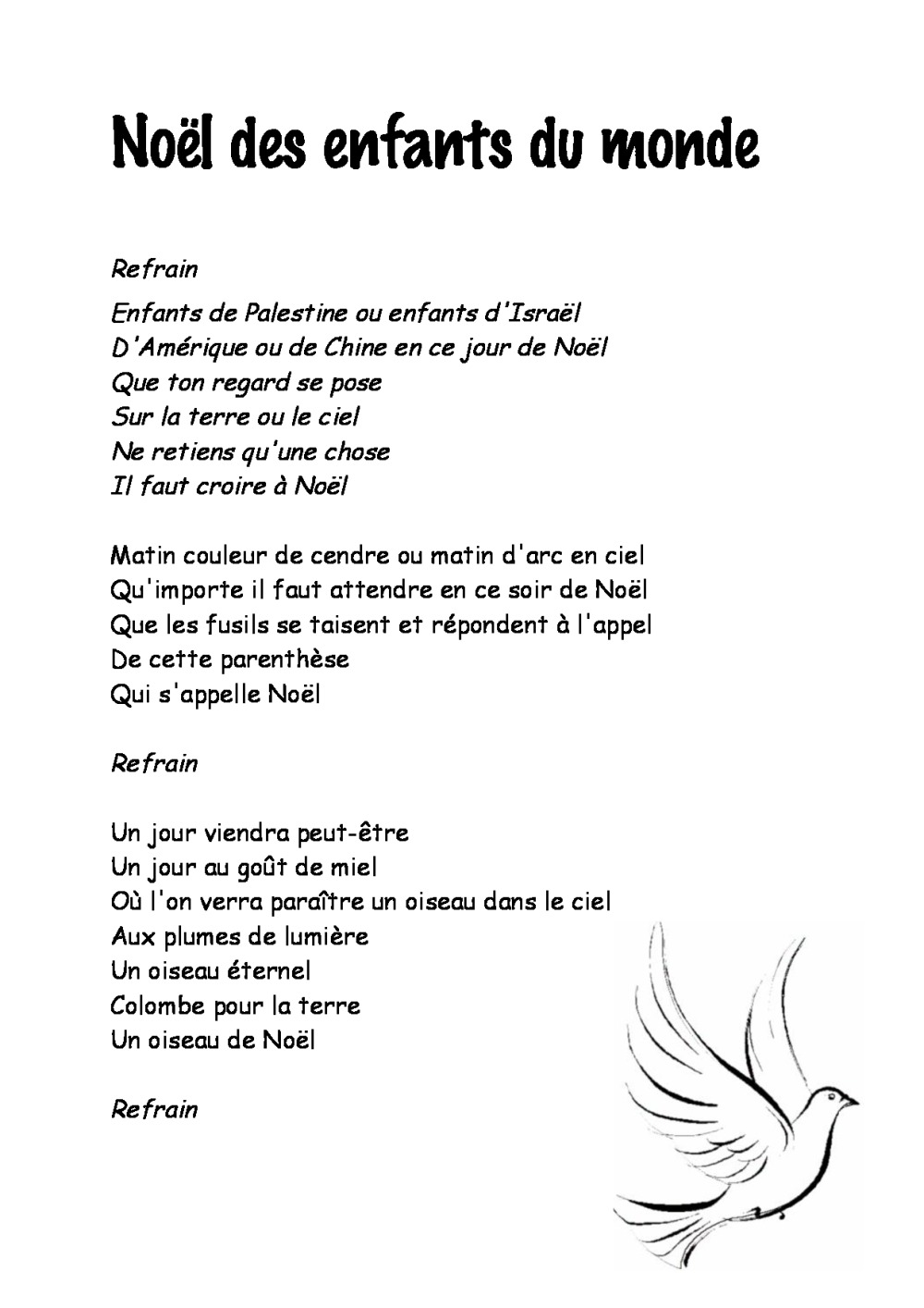 Paroles chansons de no l bdrp - Noel enfant du monde ...