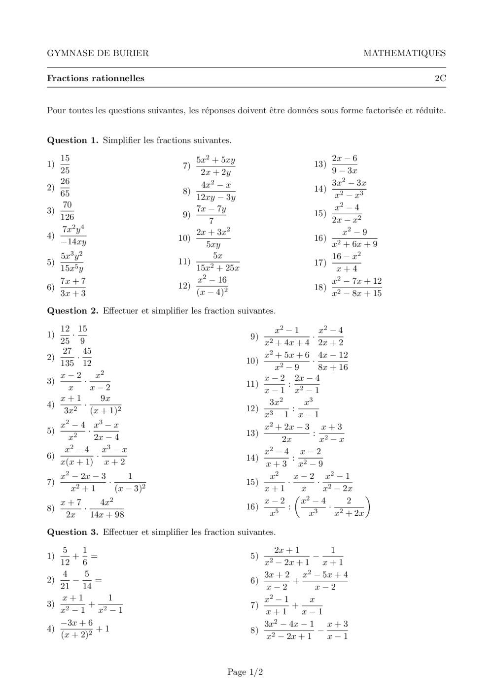 Algebre 1mst Division Polynomiale Et Fractions Rationnelles Serie D Exercices I Sarah Rochat Bdrp