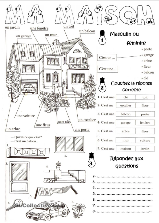 Vocabulaire de la maison bdrp Jeux de decoration la maison