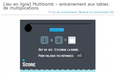Monecole jeu en ligne tables de multiplications multibomb bdrp - Table de multiplication en ligne ...